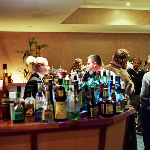 A large bar featuring local wines and a large choice of options